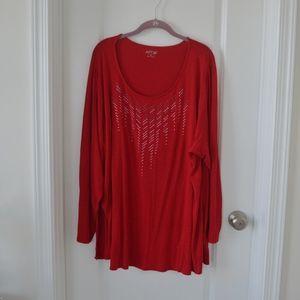 Red Rhinestone Embellished Neck Long Sleeve Top